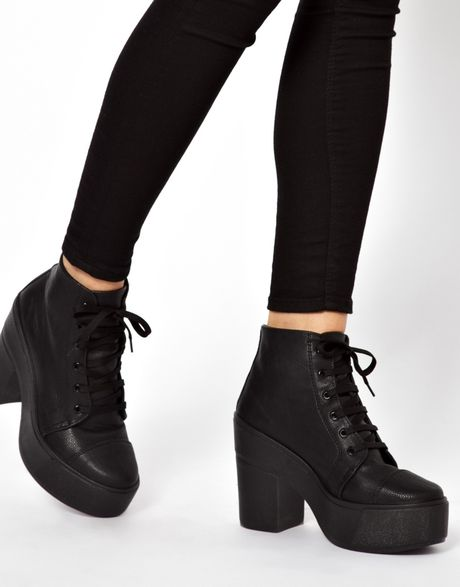 asos all things lace up ankle boots in black lyst