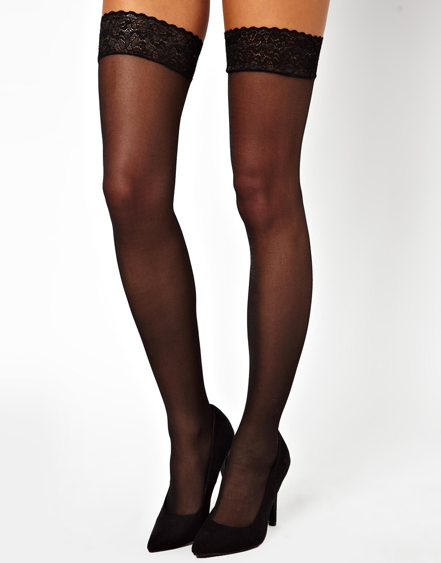 63a5a744262 ASOS Heart Back Seam Hold Up Tights in Black - Lyst