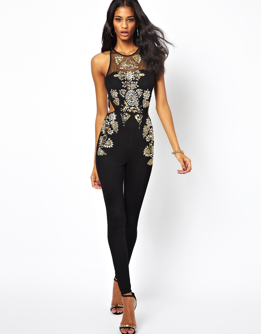 ASOS Unitard with Gold Studded Embellishment in Black - Lyst