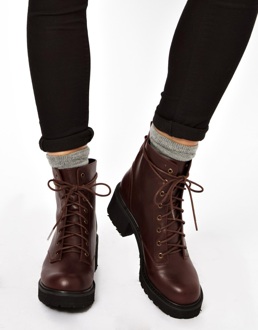 ASOS Apart Lace Up Ankle Boots in Brown