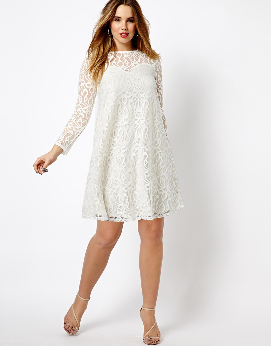 ae9ec6bab3cf ASOS Exclusive Swing Dress in Baroque Lace in White - Lyst