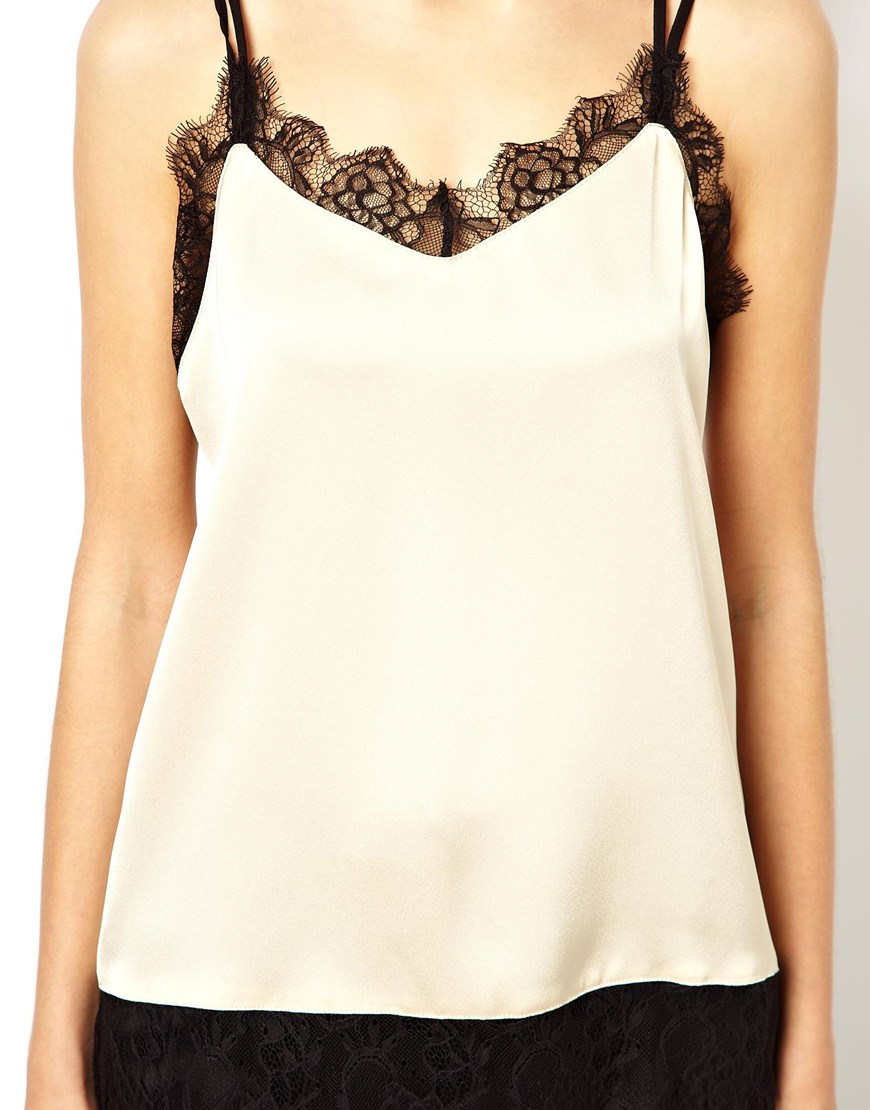 c19bcb461d ASOS Satin Cami With Lace Trim Panels in Natural - Lyst
