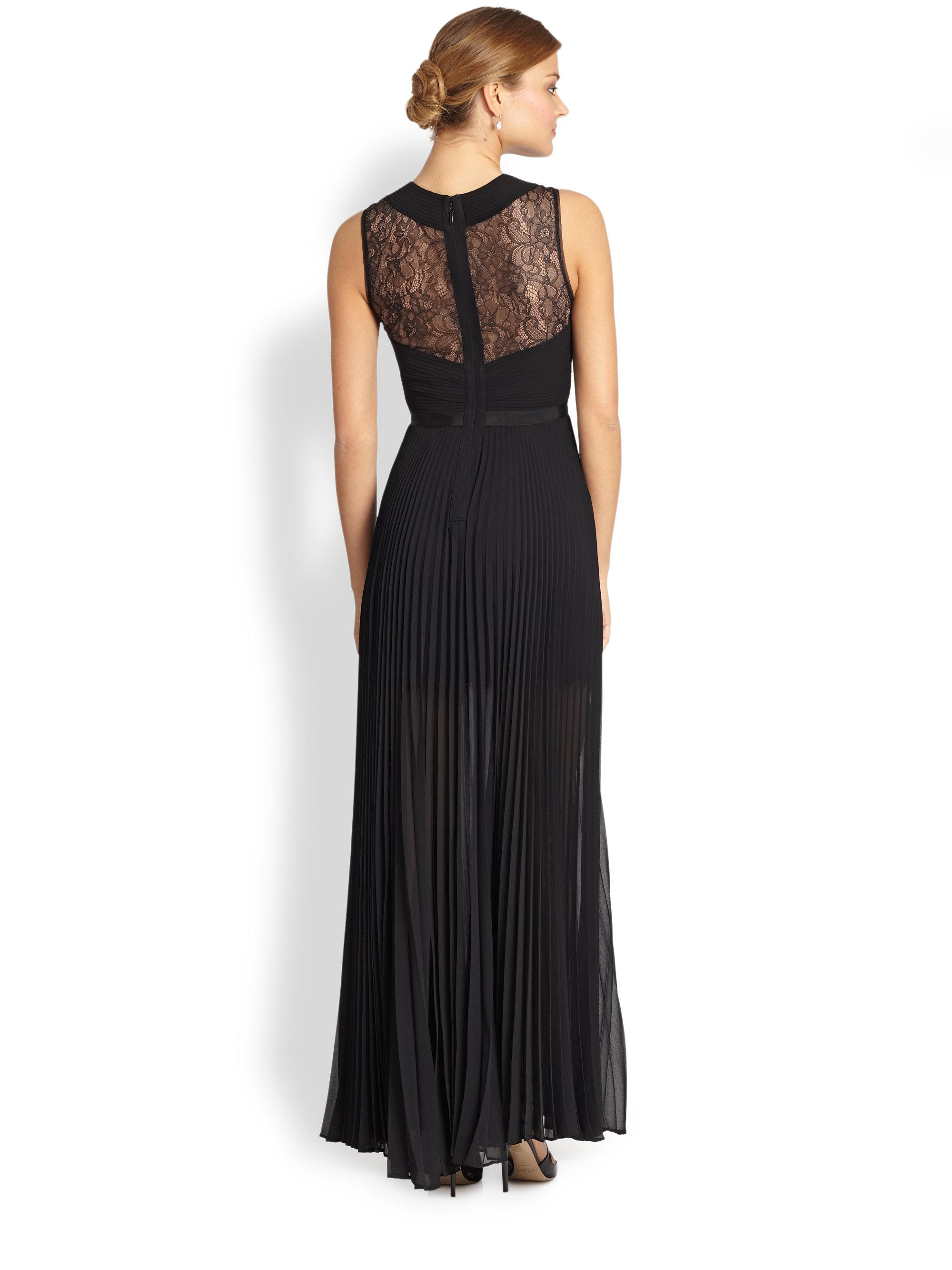 09cd0aad948b BCBGMAXAZRIA Caia Pleated Illusion Dress in Black - Lyst