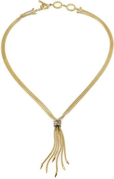 david yurman 18k yellow gold tassel necklace in