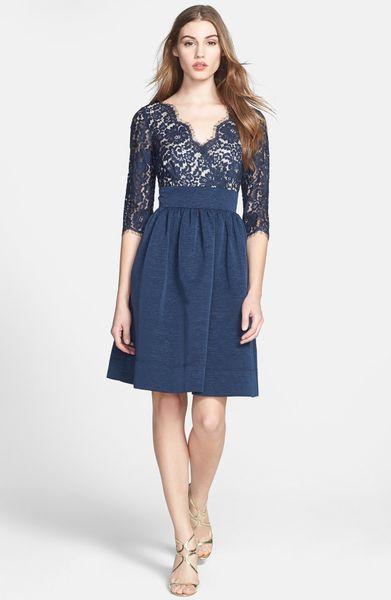 Eliza J Lace Faille Dress In Blue Navy Lyst
