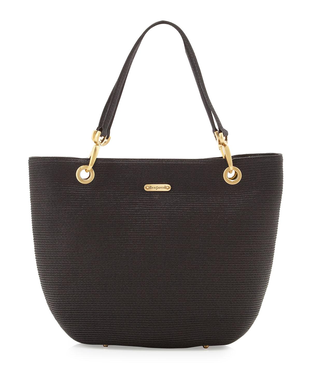 eric javits squishee clip tote bag black in black null