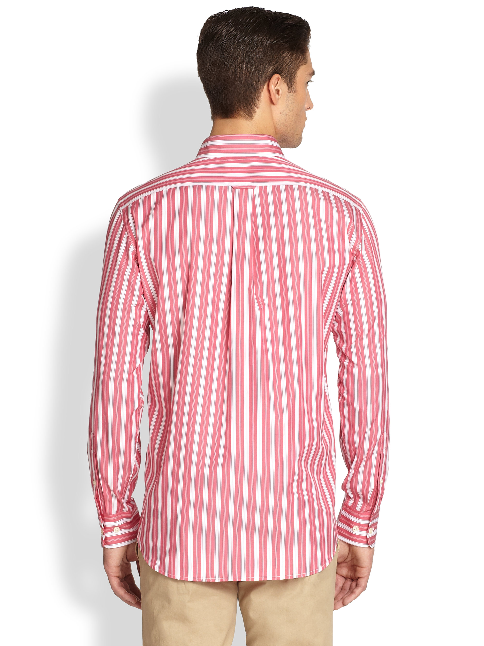 Façonnable Wide Striped Sport Shirt in Pink for Men | Lyst