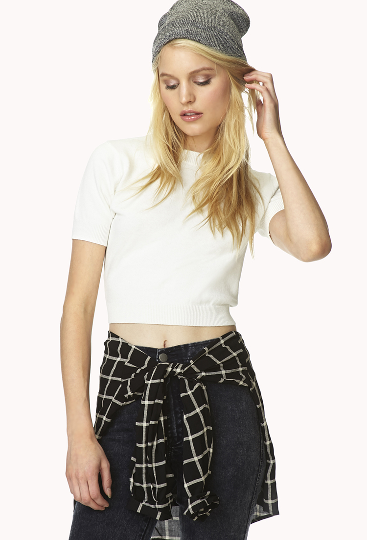 Forever 21 Cotton Sweet Cropped Sweater in Cream (Natural ...