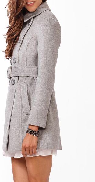 Forever 21 Wool Blend Pea Coat In Gray Grey Lyst