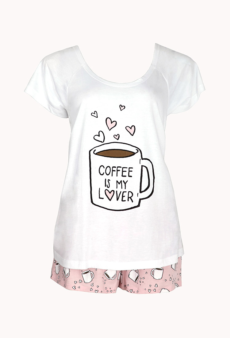 88e862aed2ec Lyst - Forever 21 Coffee Lover Pj Set in Pink