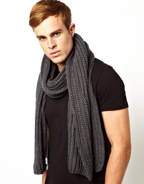 Knitting Pattern Mens Chunky Scarf : French Connection Chunky Knit Scarf in Gray for Men (Grey) Lyst