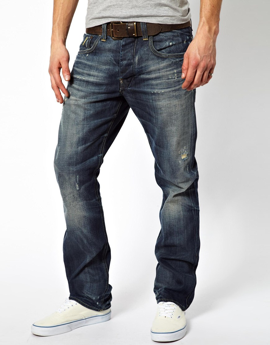 star raw jeans attacc straight in blue for men lyst. Black Bedroom Furniture Sets. Home Design Ideas