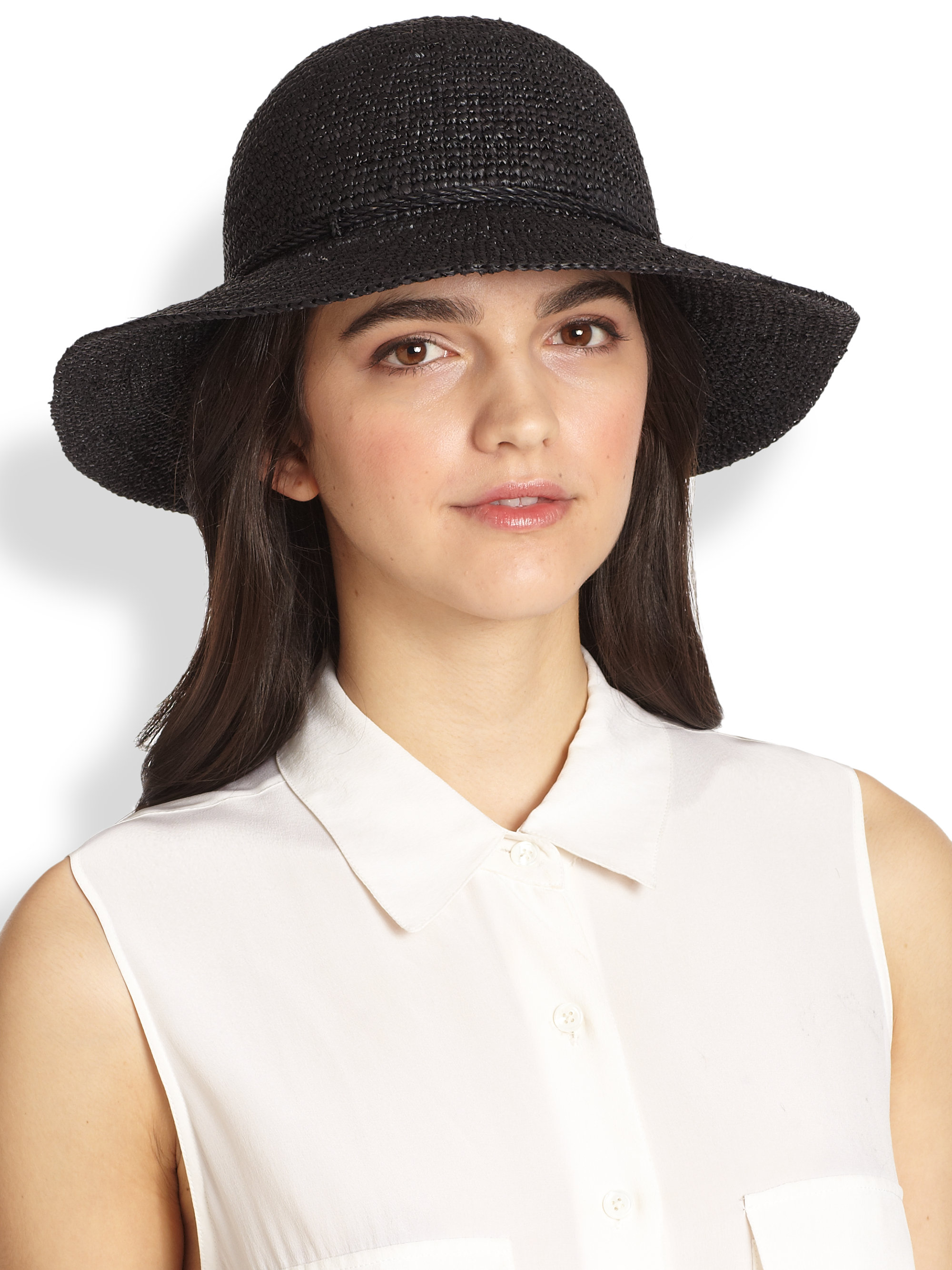 770997cd174baf Helen Kaminski Caicos Raffia Crochet Hat in Black - Lyst