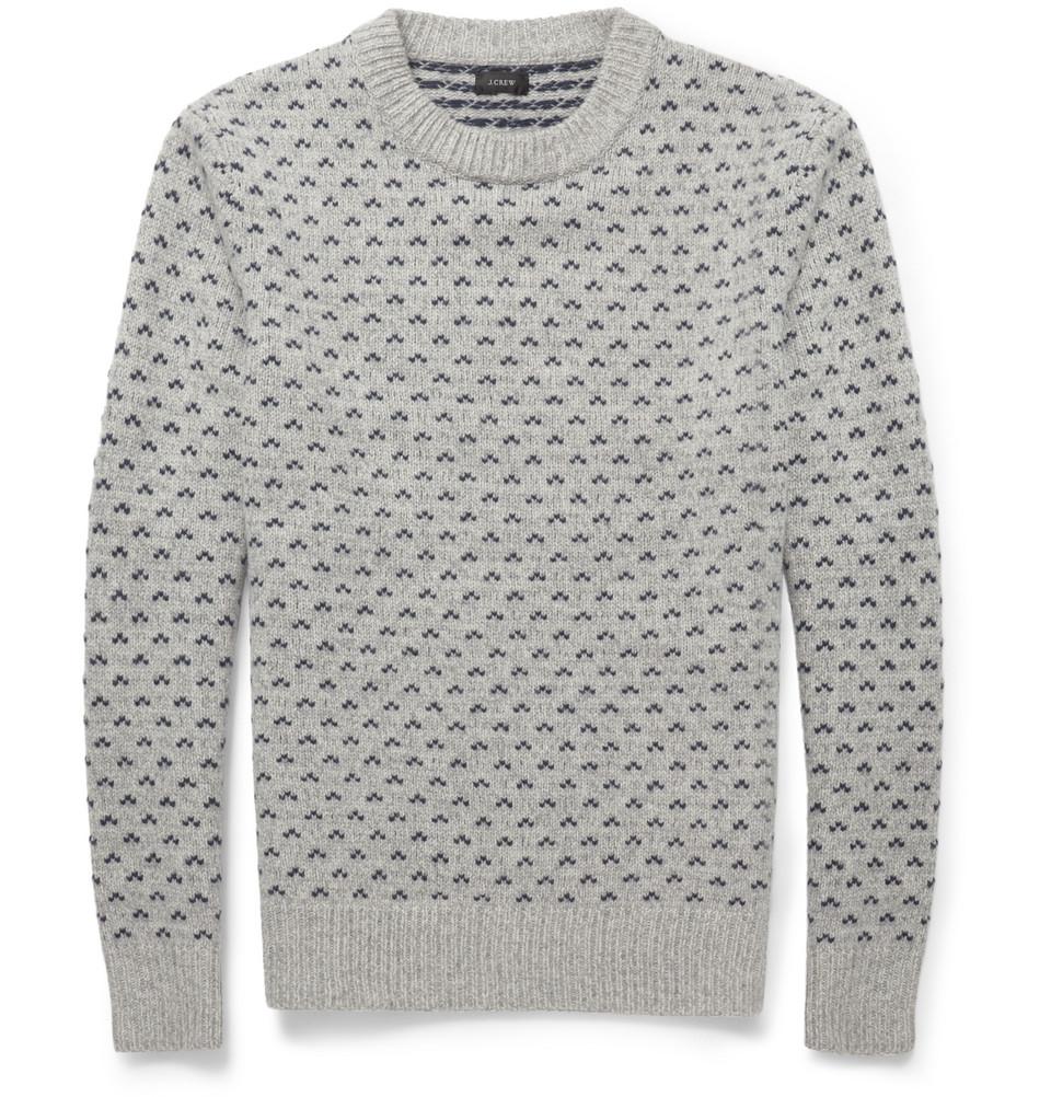J.crew Birdseye Fair Isle Wool Sweater in Gray for Men | Lyst