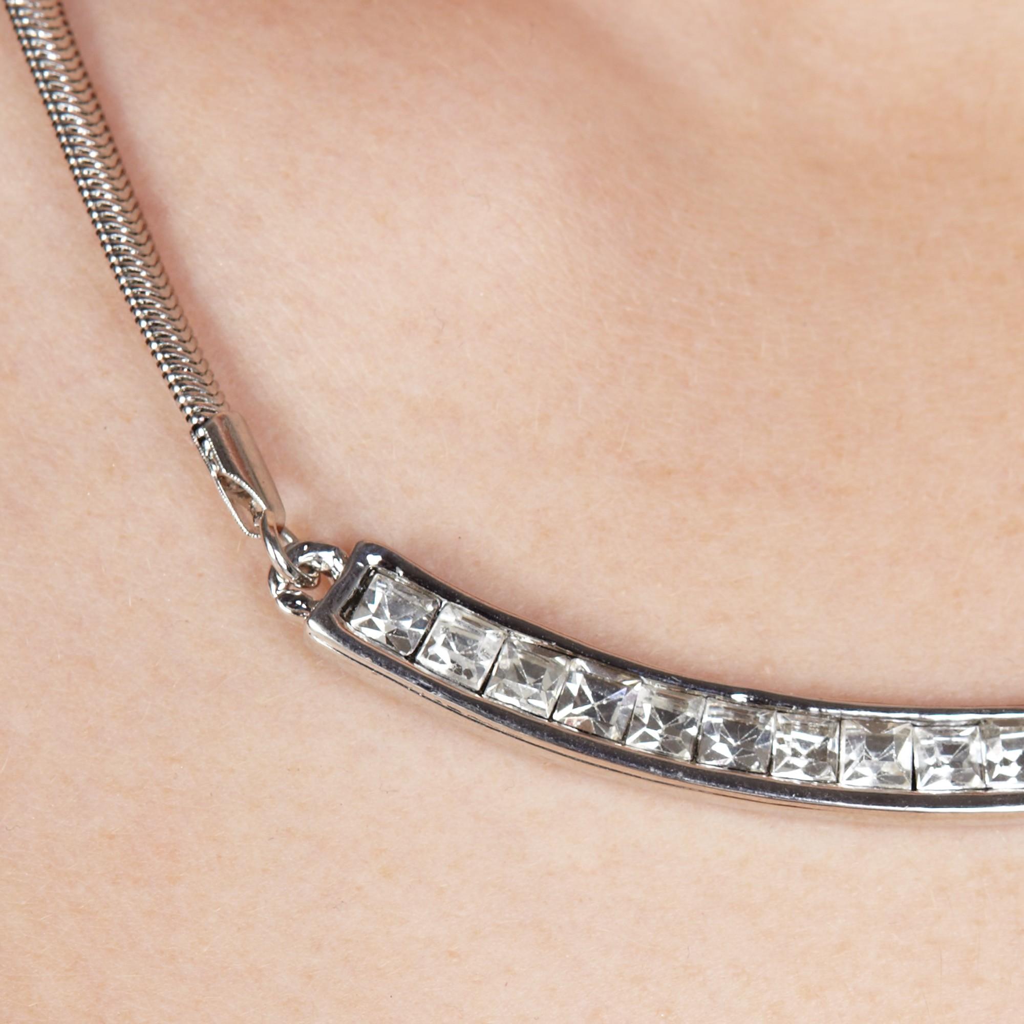 John Lewis Diamante Bar Necklace in Silver (Metallic)