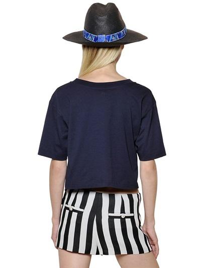 38d8fc9e4d468 Lyst - KENZO Logo Printed Cotton Jersey Crop Tshirt in Blue