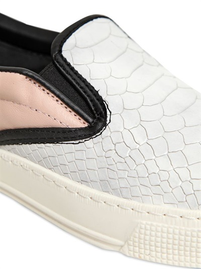 Kurt Geiger 20mm London Leather Snake Print Sneakers in Light Grey (Grey)
