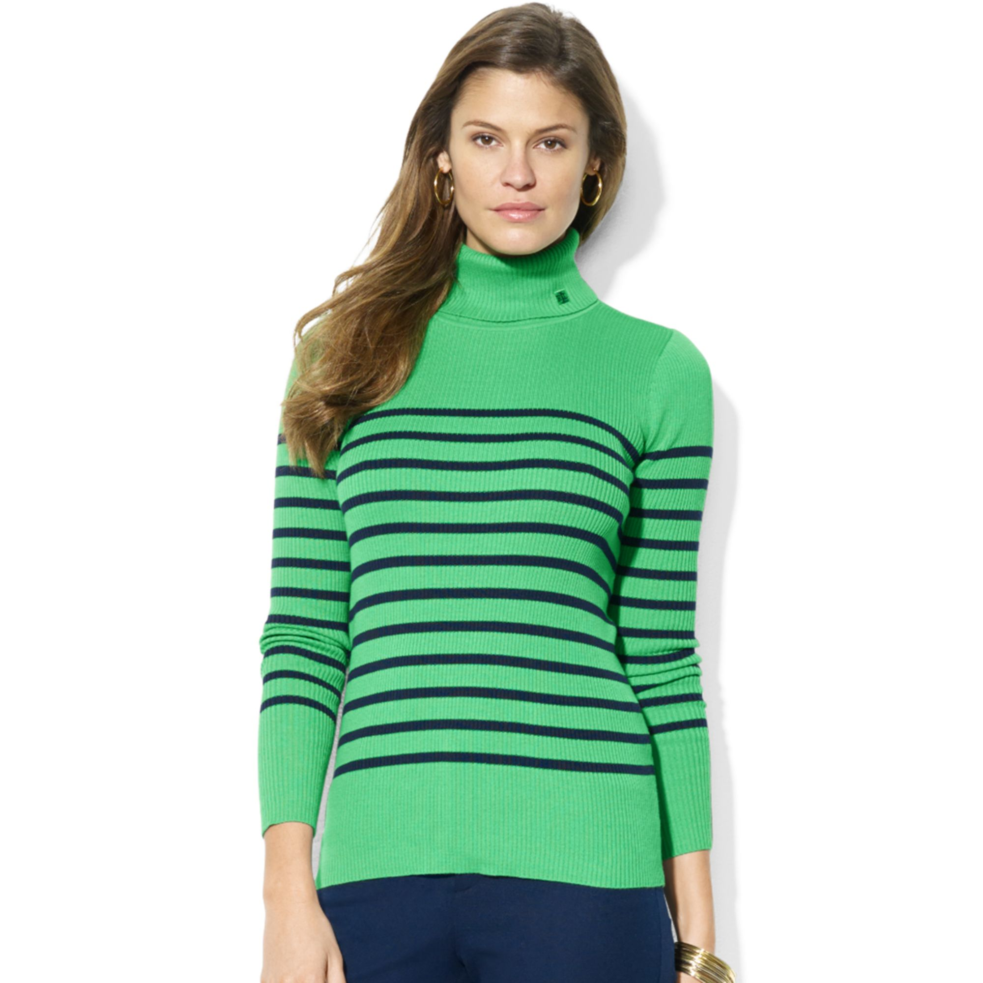 Lauren by ralph lauren Long Sleeve Striped Turtleneck in Green | Lyst