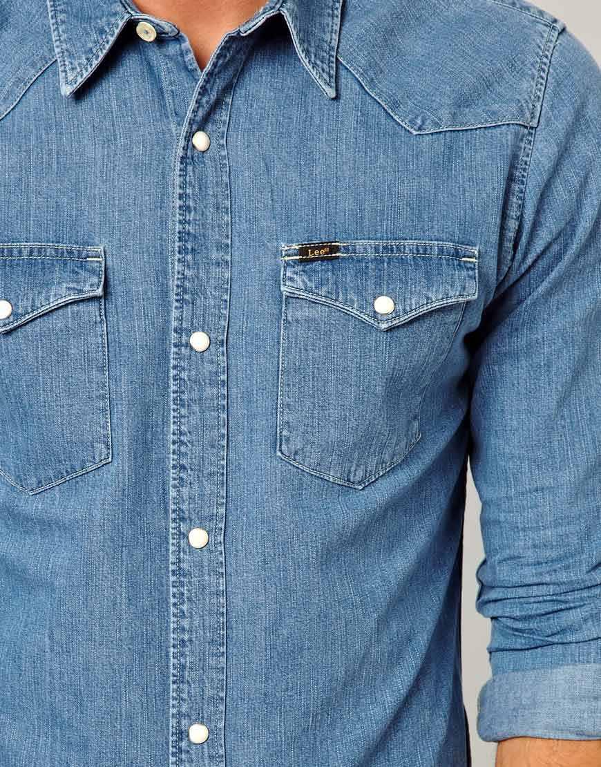 Lyst - Lee Jeans Denim Shirt Western Slim Fit Light Stone in Blue ... baeceb1d97381