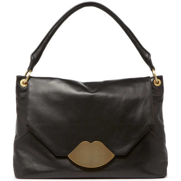 Lulu Guinness Womens Nicola Medium with Lips Inlay Leather Bag in ... 34fe450f5d492