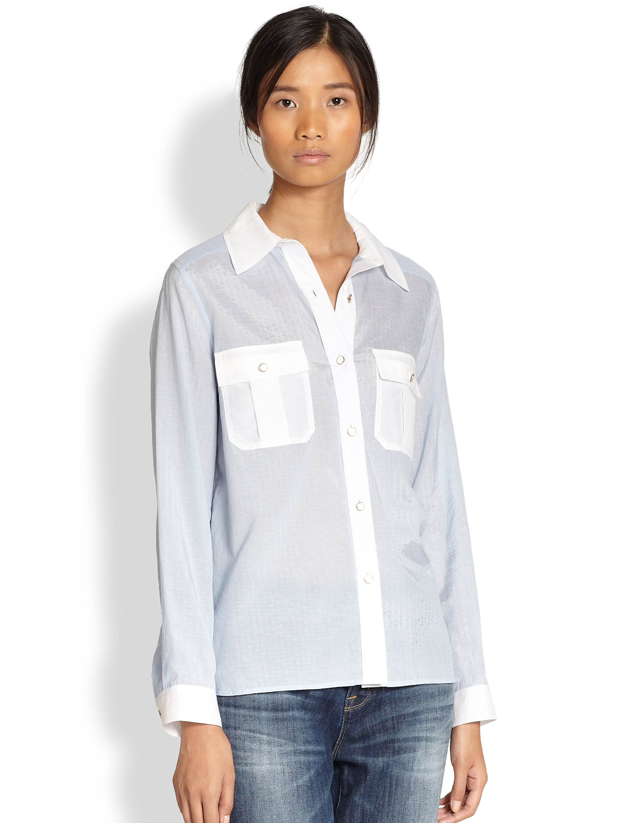 Marc by marc jacobs Dalia Dobby Blouse in Blue | Lyst