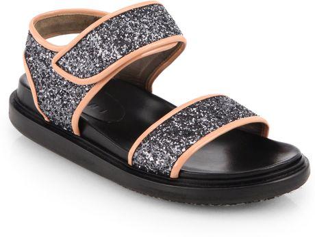 Marni Doubleband Glitter Sandals In Silver Lyst