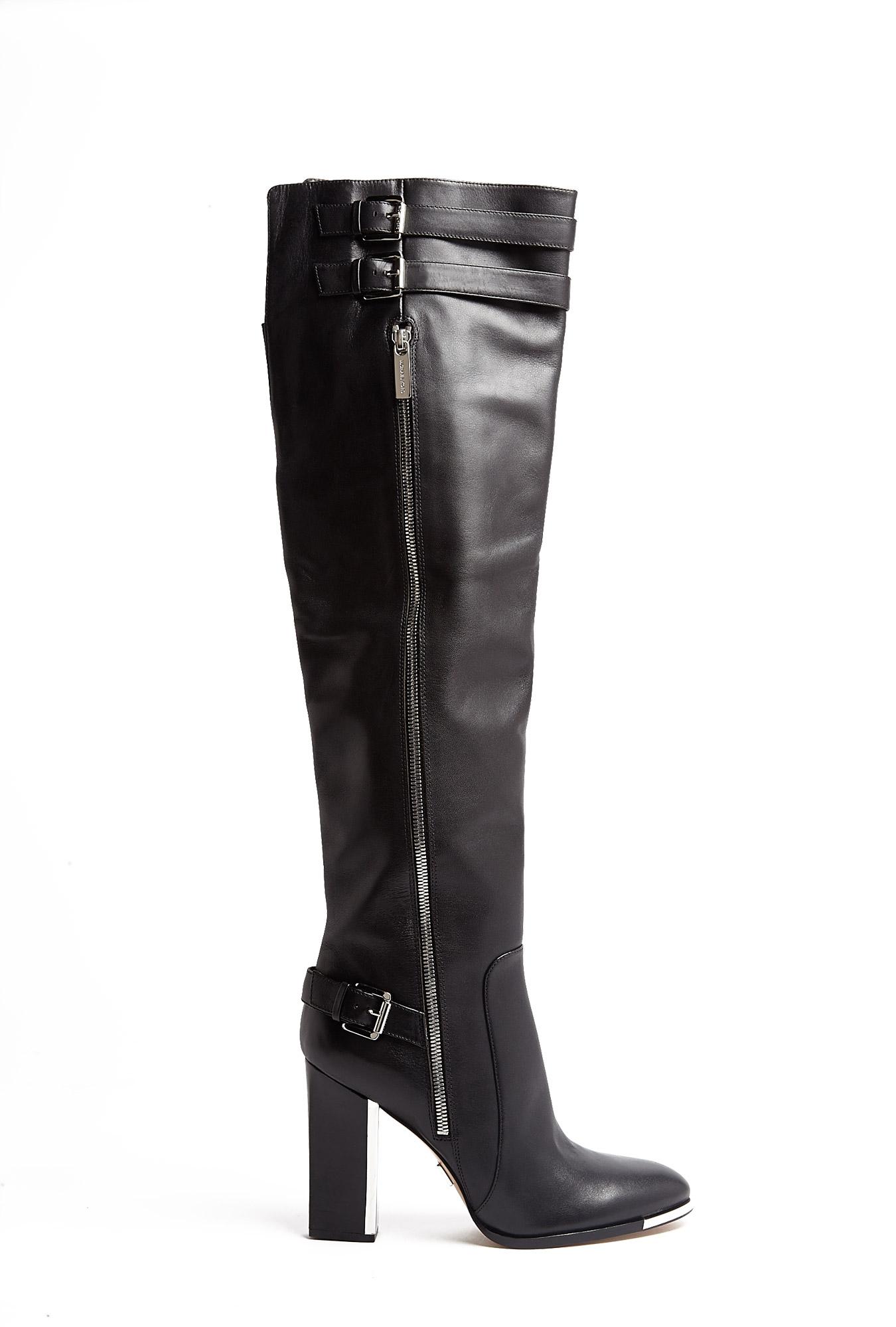 michael kors jayla metal heel buckle knee high boots in