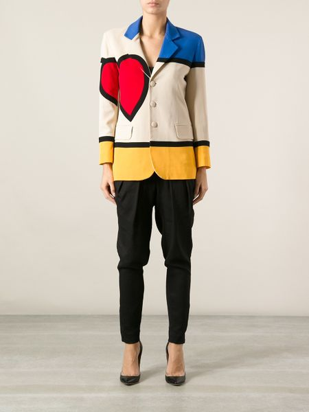 Moschino Mondrian Jacket In Brown Lyst
