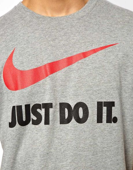 Just Do It Wallpaper: Nike Just Do It Tshirt With Swoosh In Gray For Men (Grey