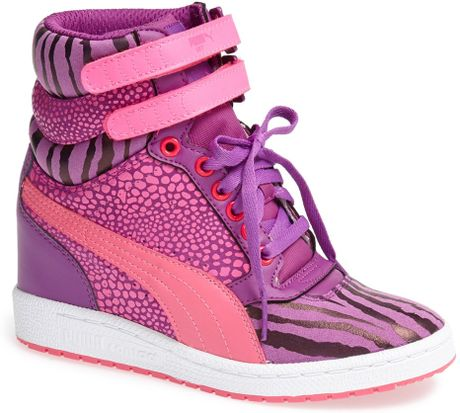 Puma Sky Wedge Reptile Sneaker in Pink (Sparkling Grape/ Pink)