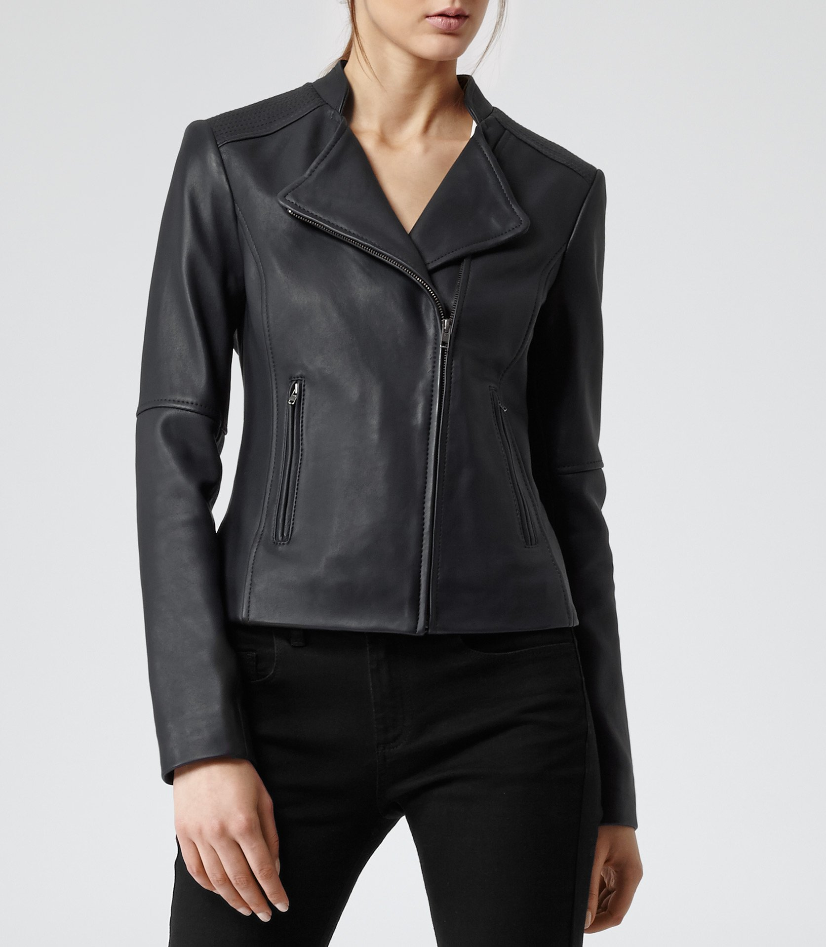 Reiss Jenn Short Collar Biker Jacket in Black | Lyst