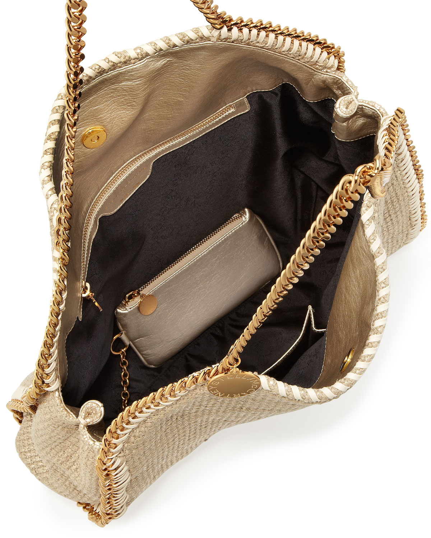 e6eeb566e6 Lyst - Stella McCartney Falabella Large Metallic Woven Tote Bag in ...