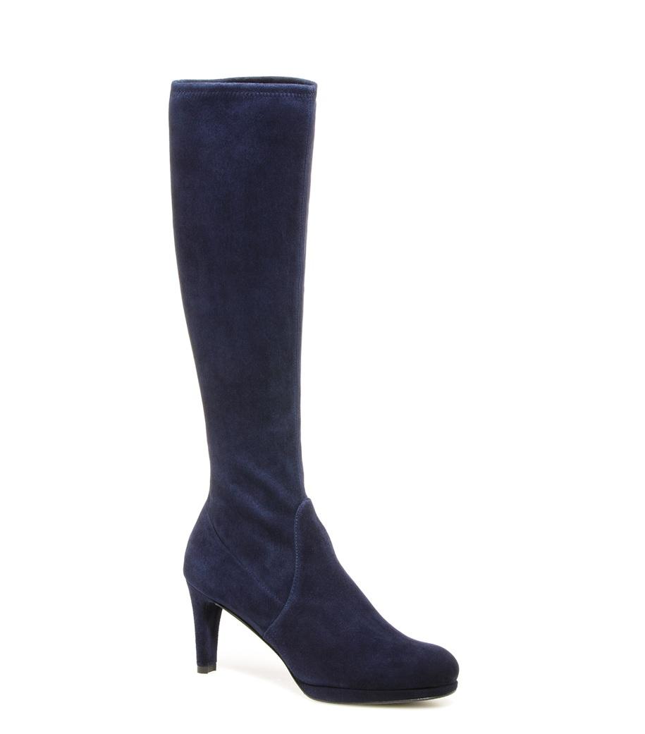 stuart weitzman the jefemid boot in blue blue suede