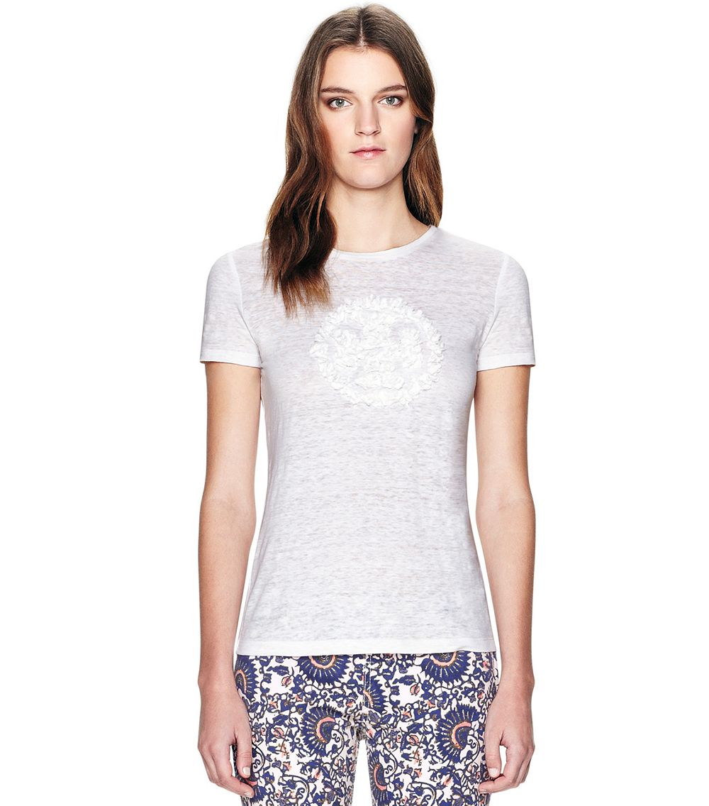 Tory burch cassia tee in white lyst for Tory burch t shirt