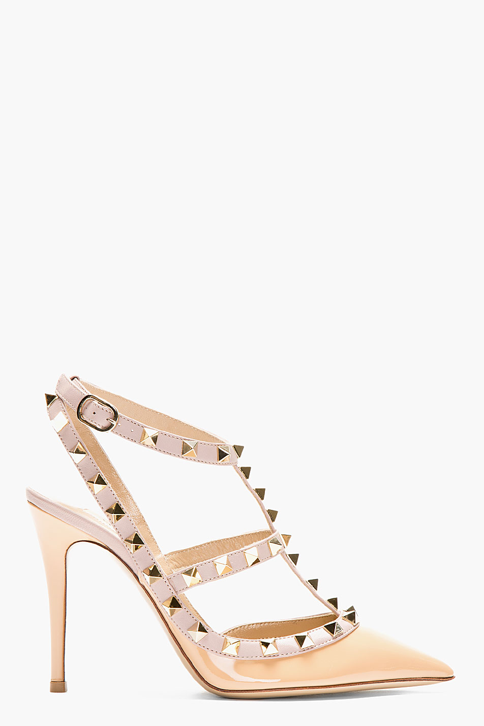 Valentino beige and taupe leather studded rockstud slingbacks in natural lyst - Beige slaapkamer taupe ...