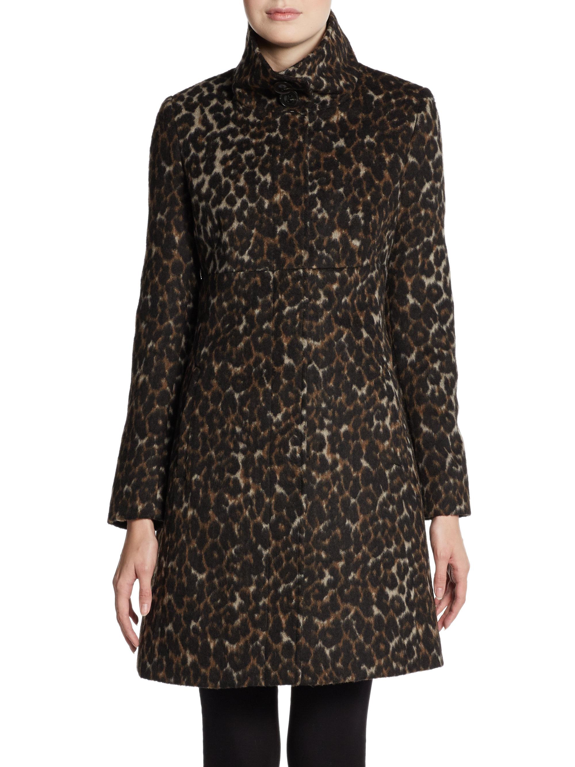 Via Spiga Leopardprint Stand Collar Coat In Animal