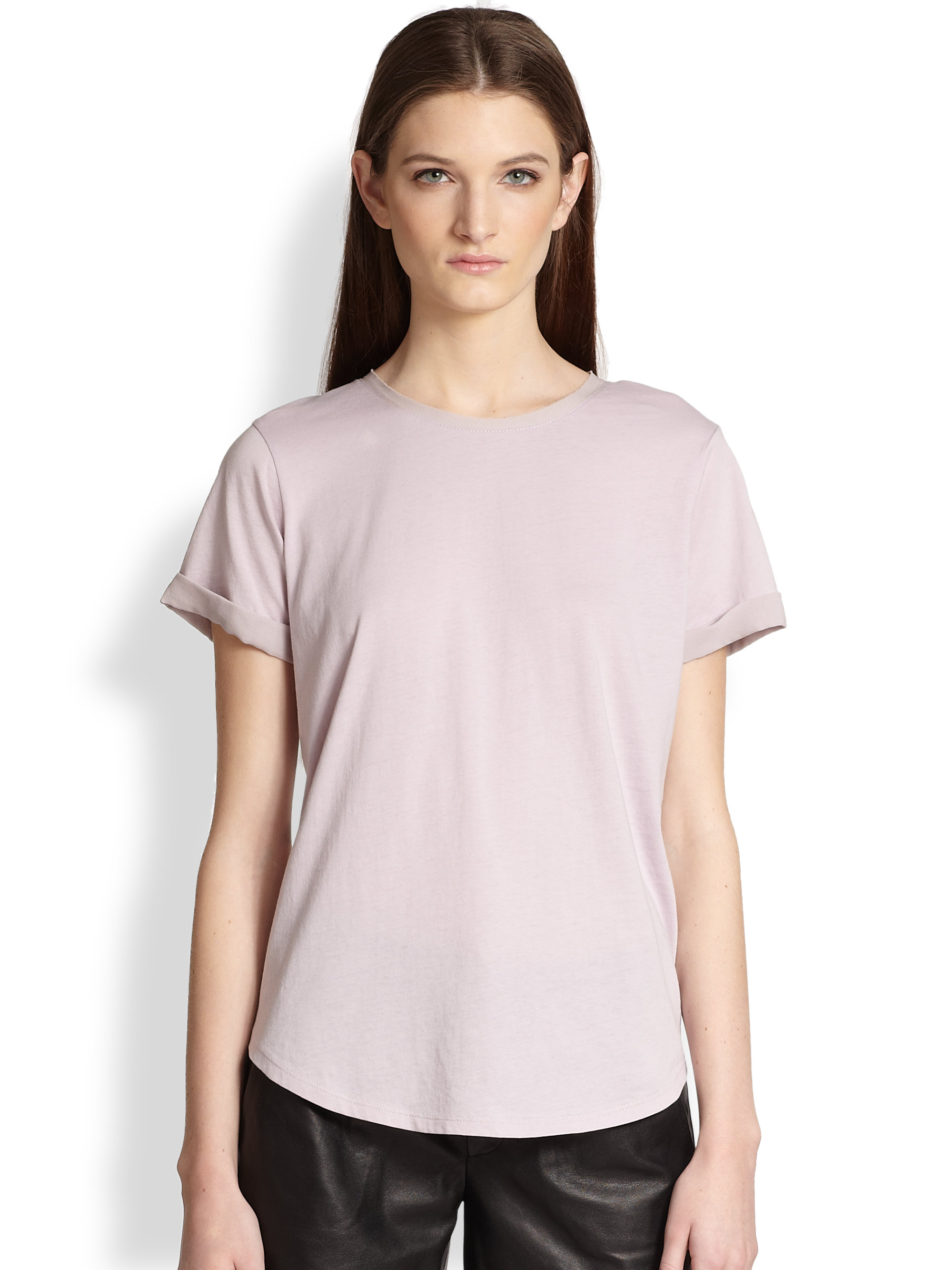 Lyst vince silk roll sleeve tee in natural for Vince tee shirts sale
