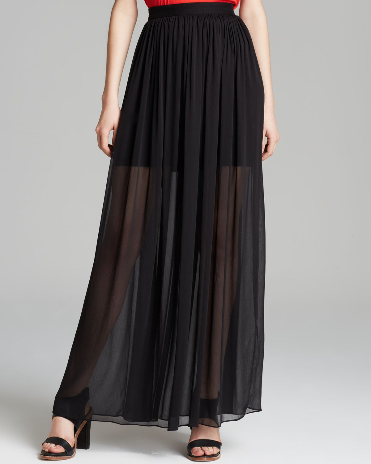 maxi skirt pleated in black lyst