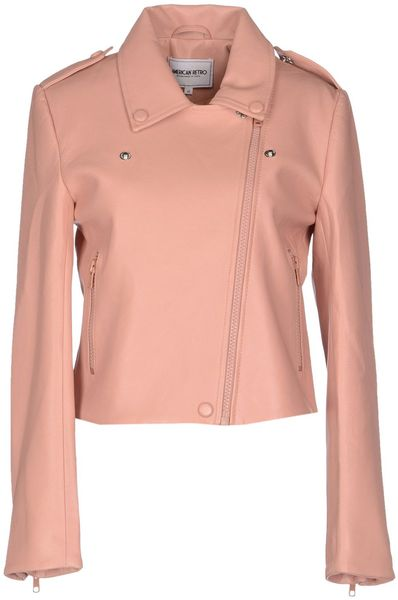 American Retro Leather Outerwear in Pink