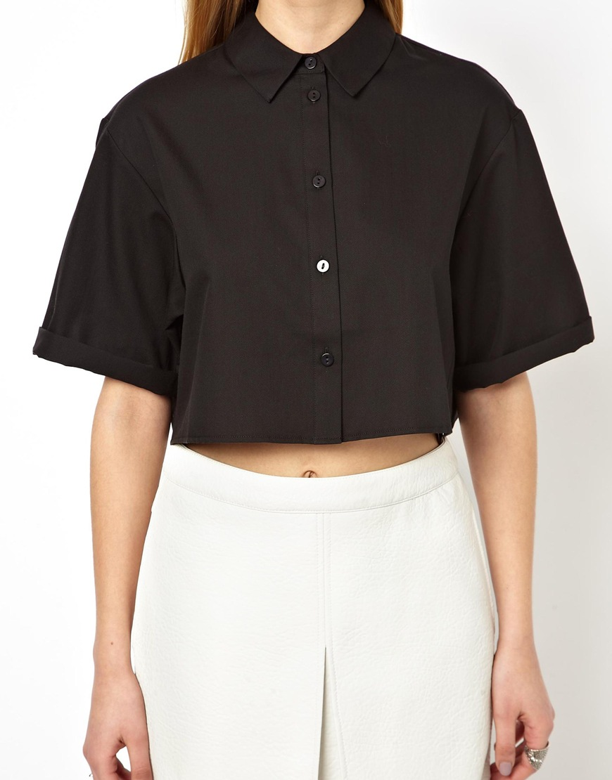 Lyst - ASOS Cropped Shirt with Boxy Sleeve in Geo Jacquard in Black 46974e59c