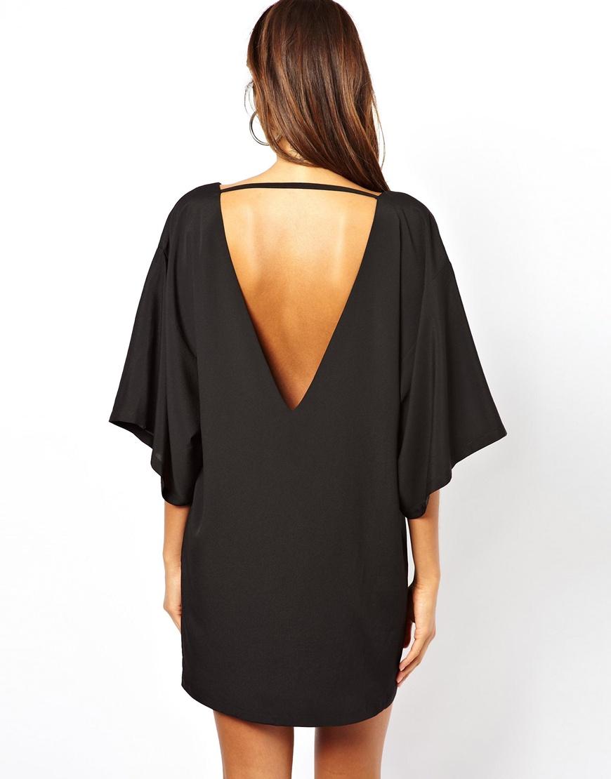 Lyst Asos Kimono Sleeve Ovoid Dress In Black