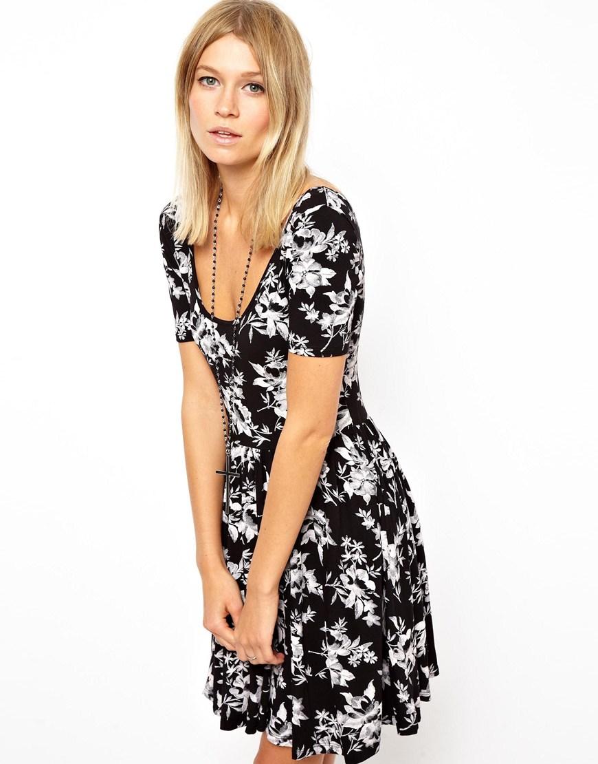 c2f2332241f4 Asos Black Floral Skater Dress - raveitsafe