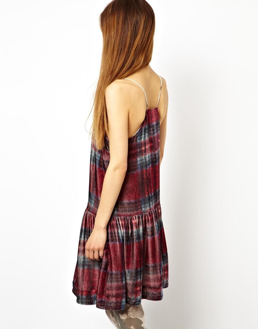 Asos House Of Hackney For Cami Dress In Silk Velvet Plaid