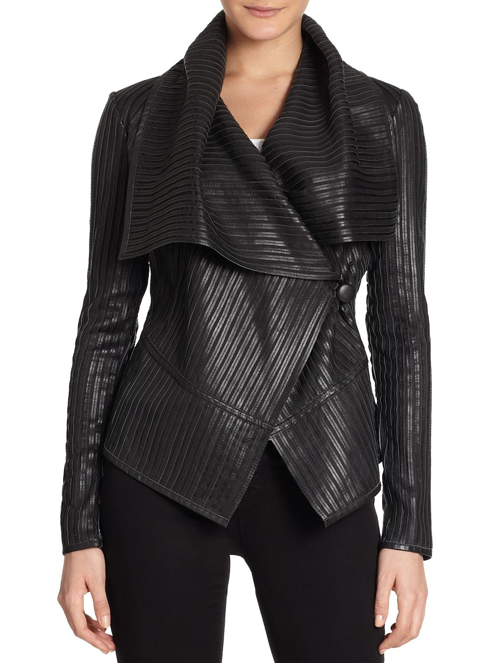 Leather shawl collar jacket
