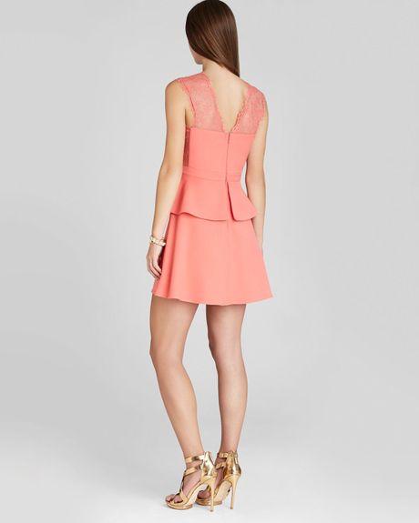 Bcbgmaxazria Dress Leeann Sleeveless Peplum In Pink (Pink