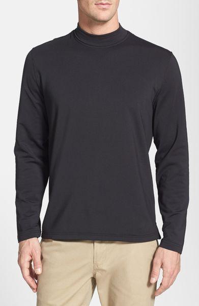 Bobby jones mock neck long sleeve shirt in black for men for Mock crew neck shirts