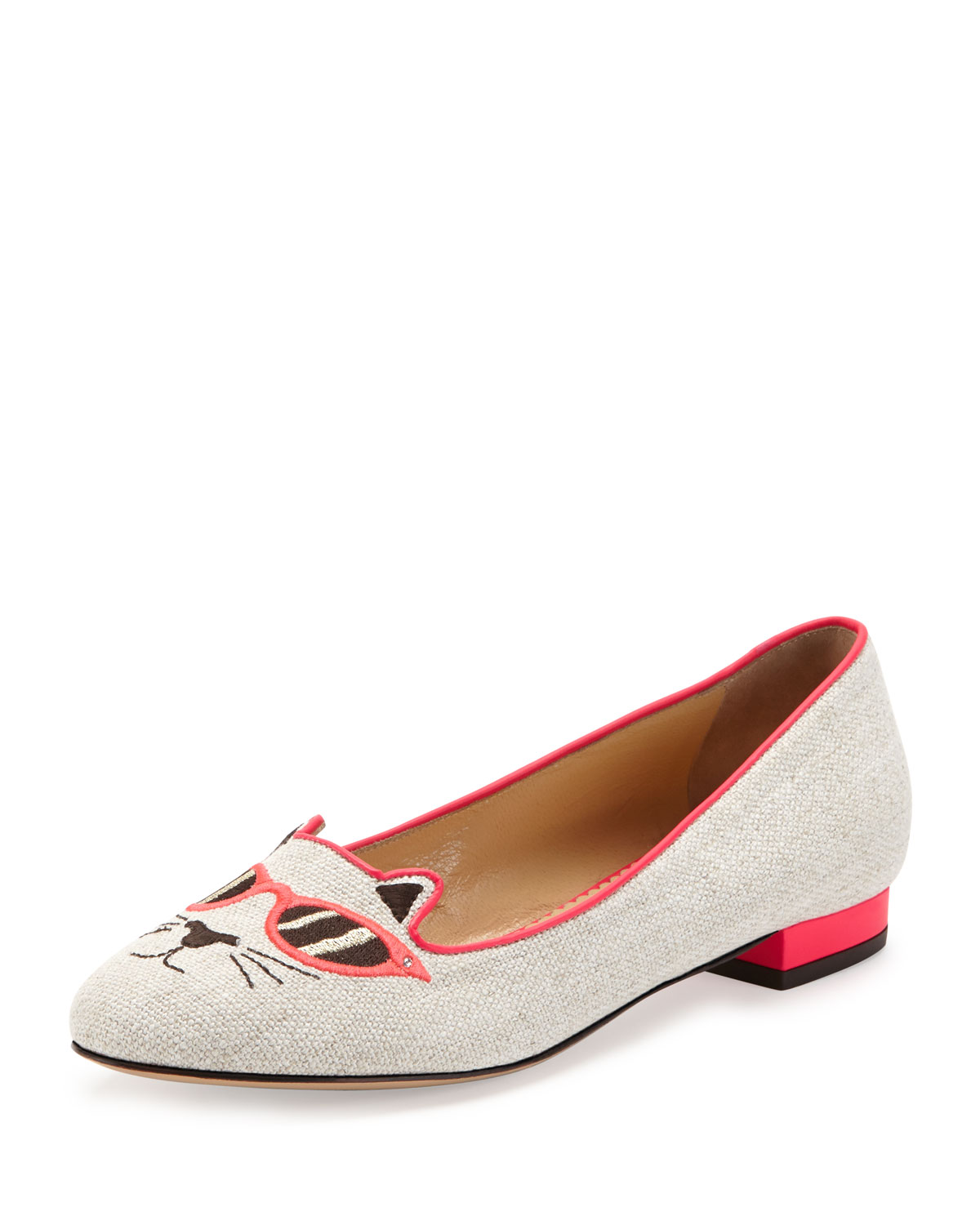 Charlotte Olympia Sunkissed Kitty Canvas Flat Green In