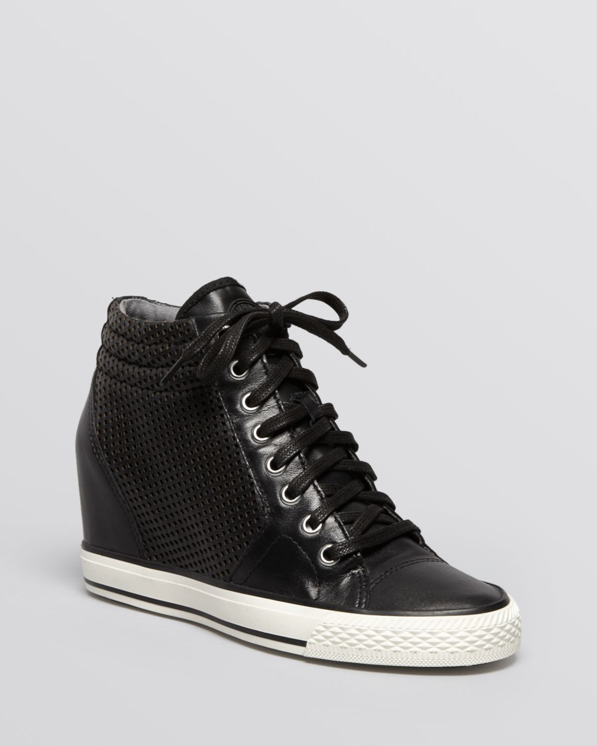 dkny lace up high top wedge sneakers in black lyst