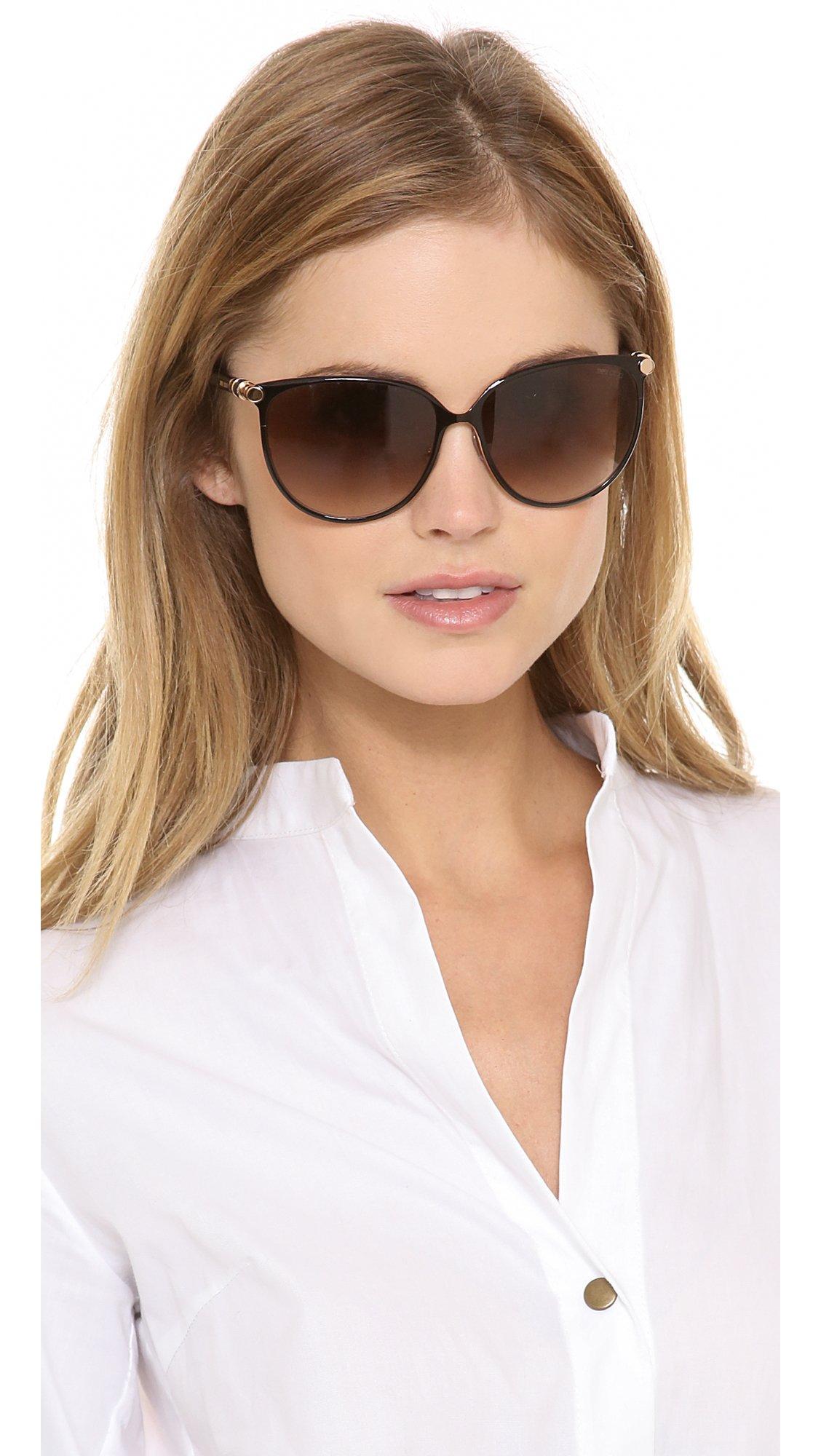 3af6d04459 Jimmy Choo Juliet Sunglasses - Shiny Black Brown Gradient in Black ...
