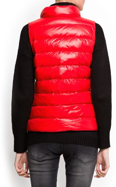 Mango Quilted Feather Gilet In Red Lyst
